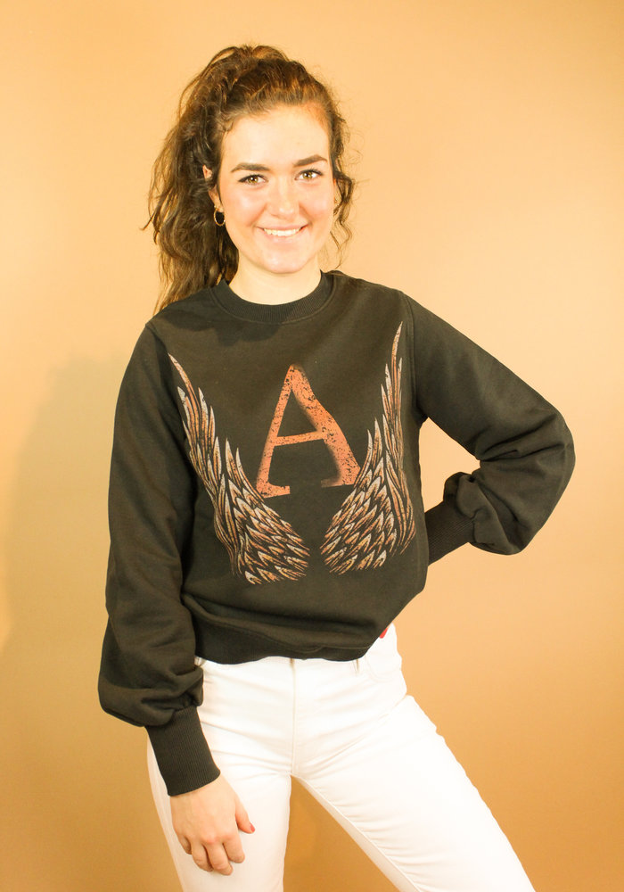 Alix - Ladies knitted A wings sweater black