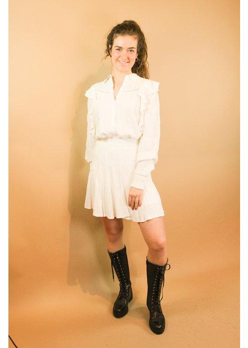 Alix Alix - Ladies woven seer sucker stripe top soft white