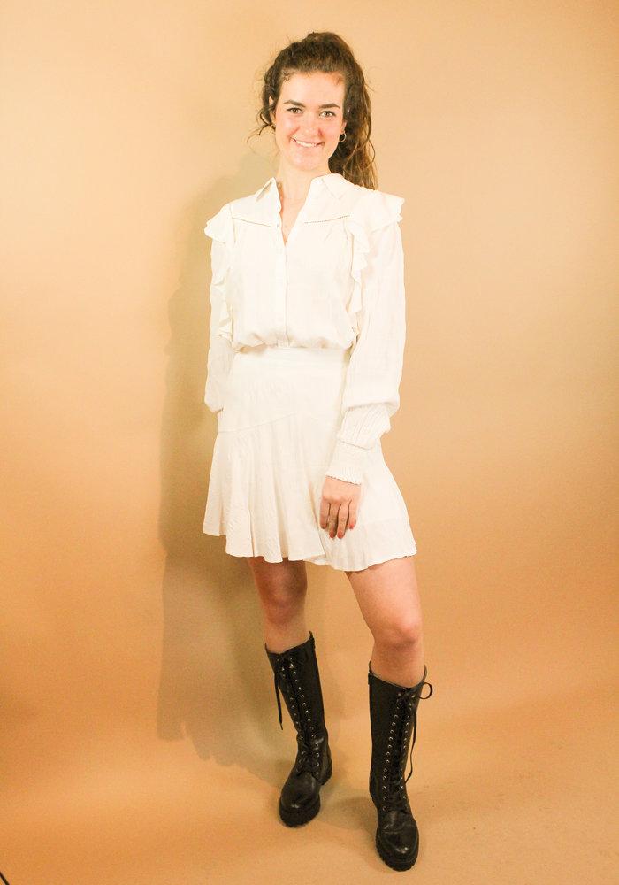 Alix - Ladies woven seer sucker stripe top soft white