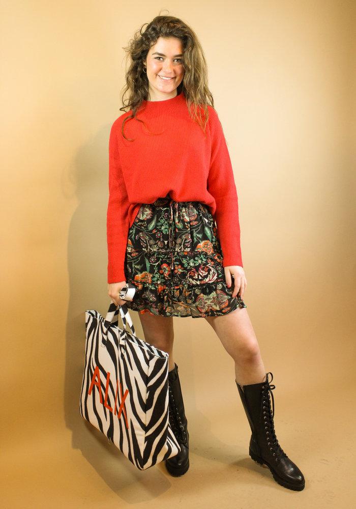 Alix - Ladies woven chiffon skirt multi colour
