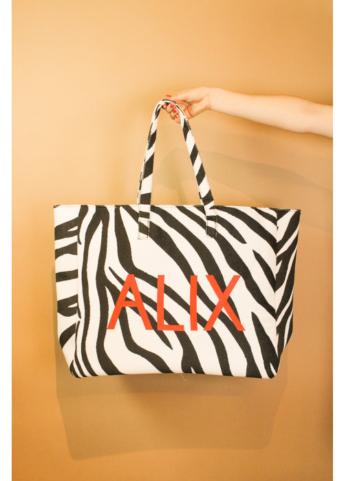 Alix Alix - Ladies woven zebra felted bag