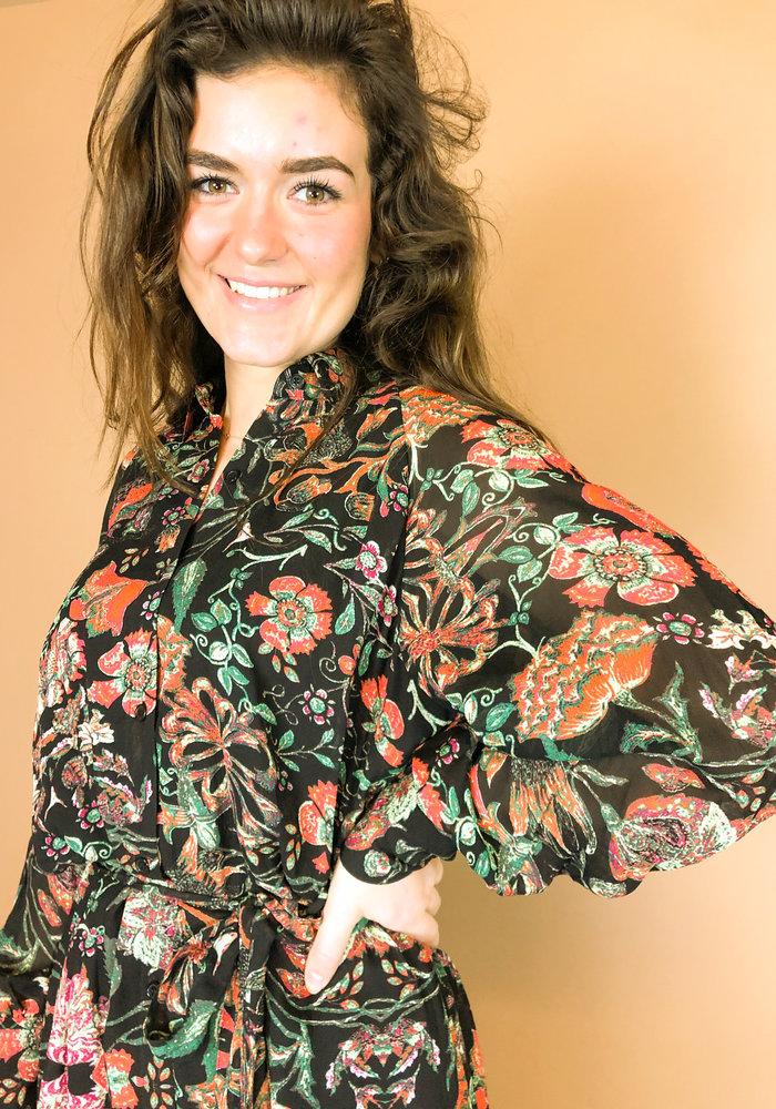 Alix - Ladies woven chiffon blouse dress multi colour