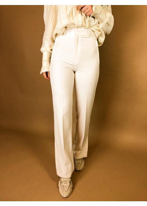 Alix Alix - Ladies woven stretch wide leg pants creamy white