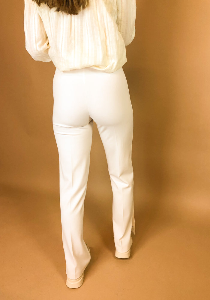 Alix - Ladies woven stretch wide leg pants creamy white