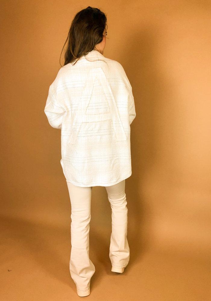 Alix - Ladies woven denim oversized shiny boucle jacket creamy white