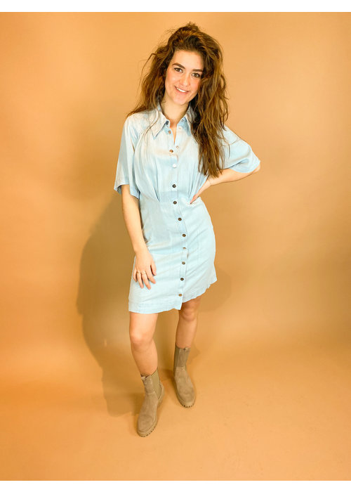 Freebird Freebird - KAE - LIGHT BLUE - Mini dress 3/4 sleeve