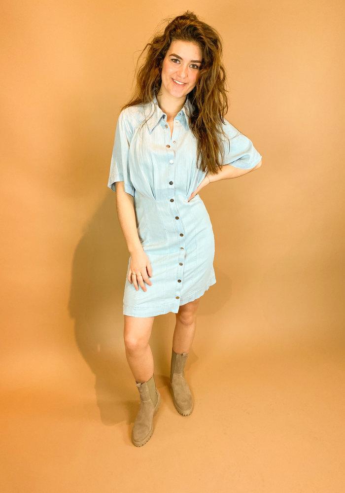 Freebird - KAE - LIGHT BLUE - Mini dress 3/4 sleeve