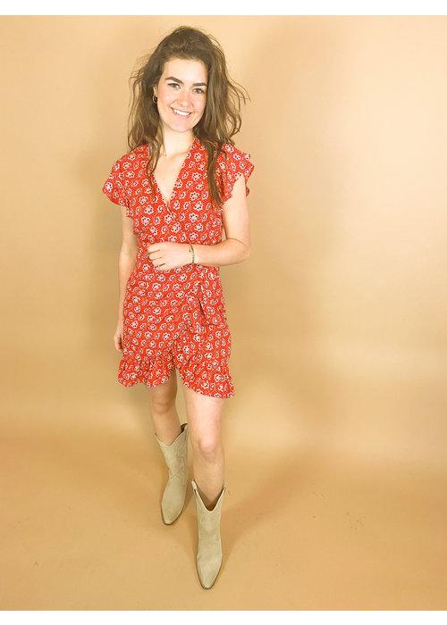 Freebird Freebird - Rosy Short Sleeve Mini Dress Red