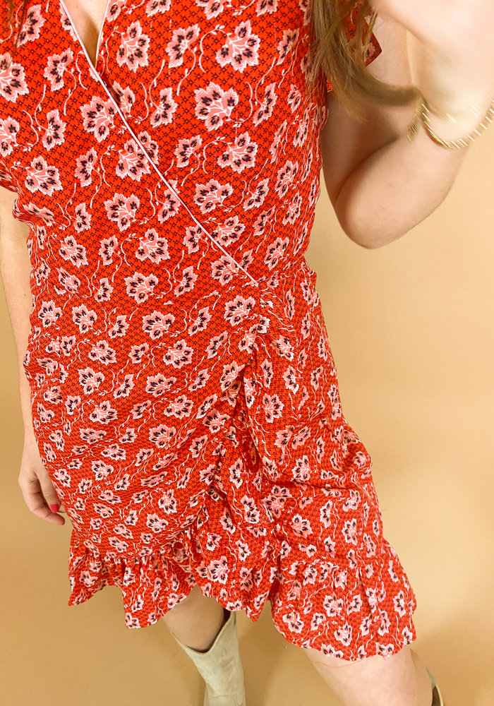 Freebird - Rosy Short Sleeve Mini Dress Red
