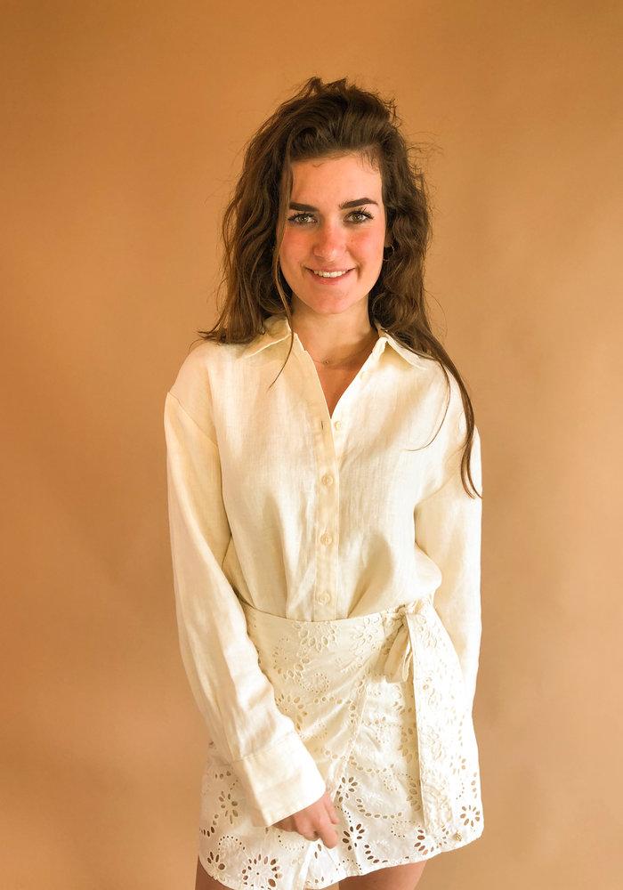 NAKD - Oversized Linen Shirt Beige