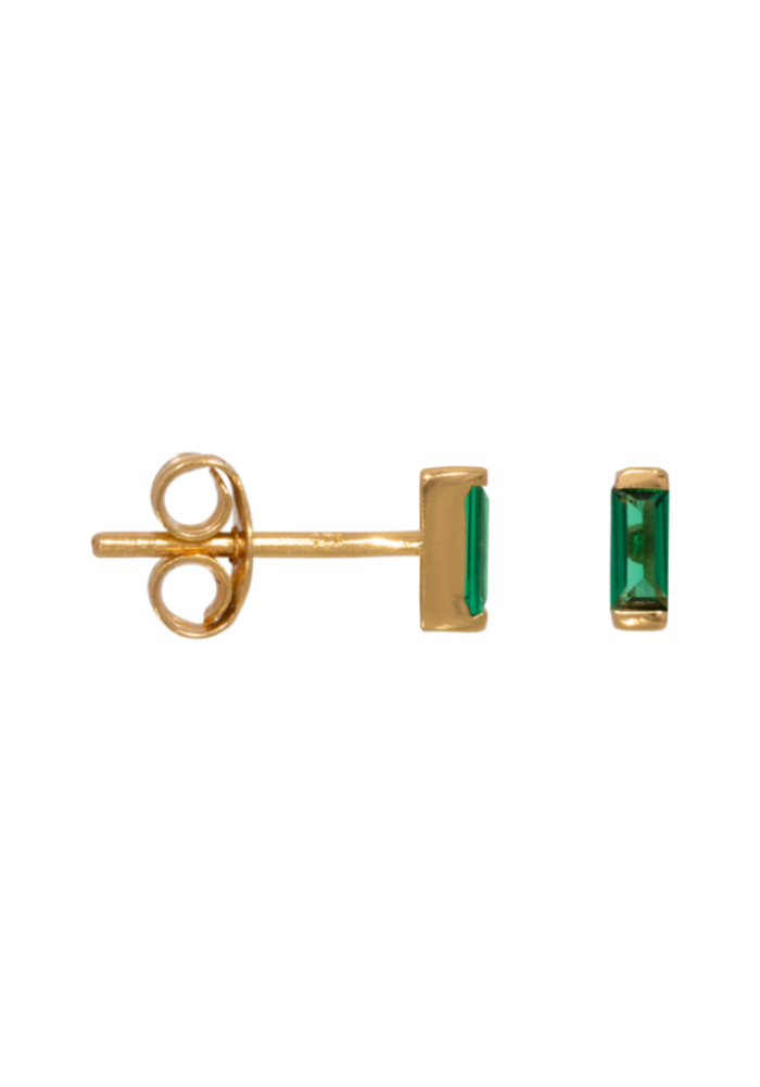 Eline Rosina - Emerald Baguette Earrings (per paar)