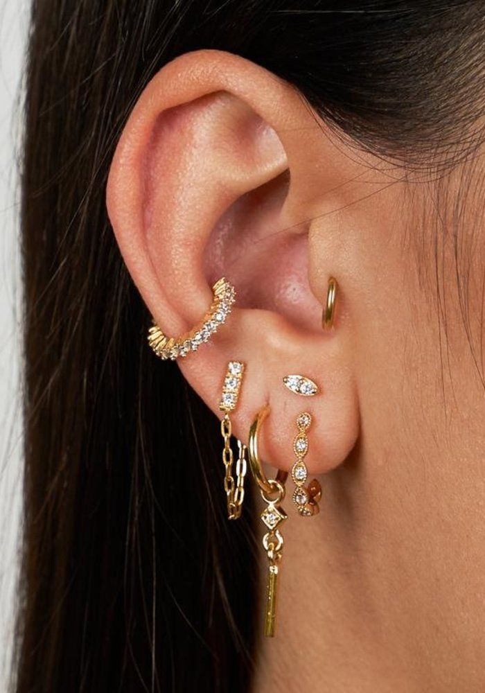 Eline Rosina - Zirconia chain earrings