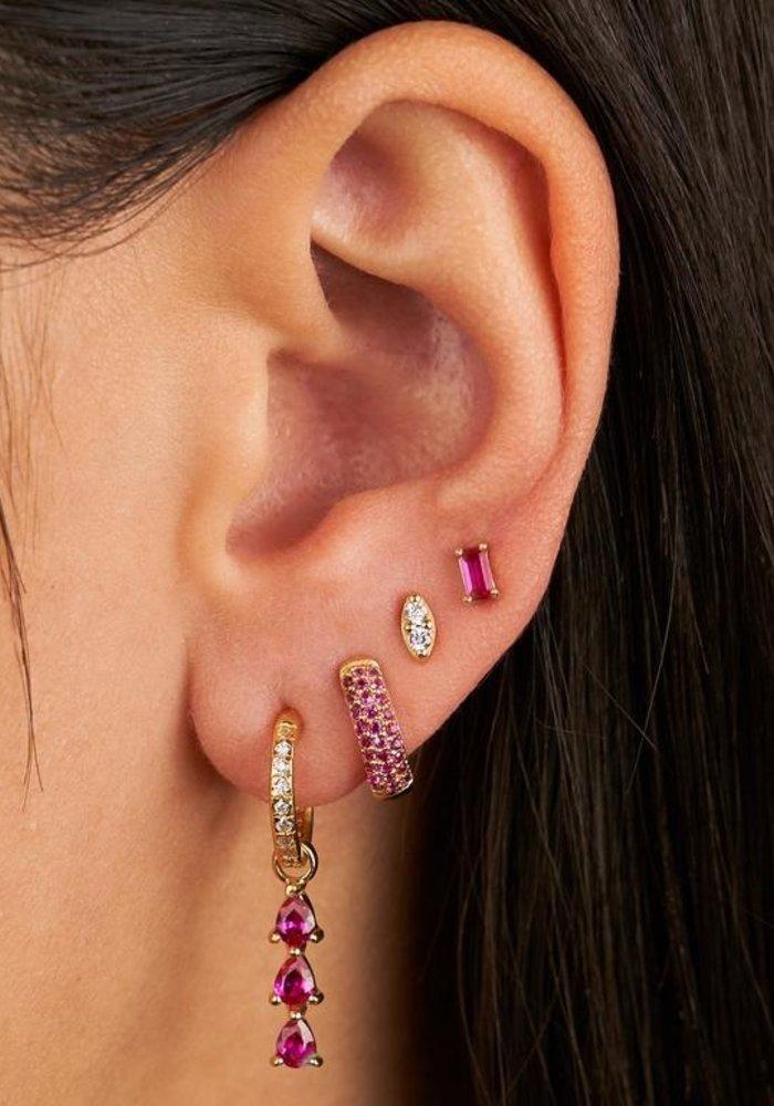 Eline Rosina - Ruby Baguette Earrings (per paar)