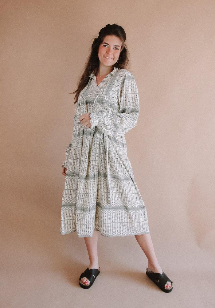 Freebird - Mabel Short Sleeve Midi Dress Off White