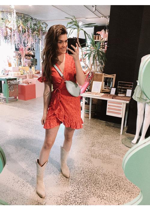 Freebird Freebird - Rosy SS Short Sleeve Mini Dress Pink
