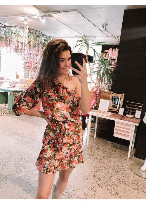 Alix Alix - Ladies Woven Flower One Shoulder Dress