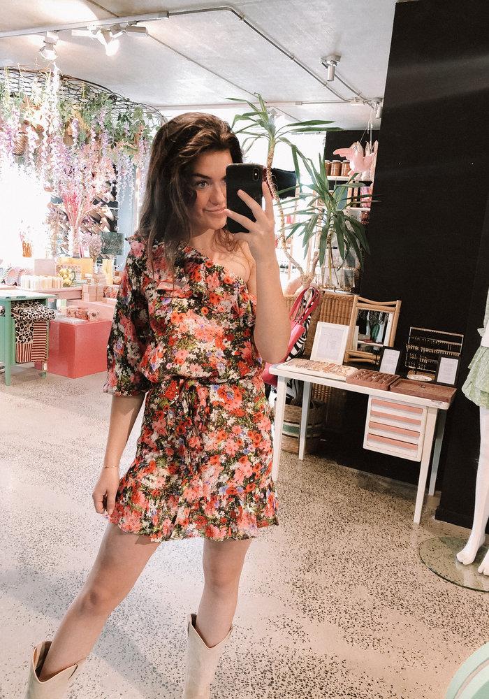 Alix - Ladies Woven Flower One Shoulder Dress