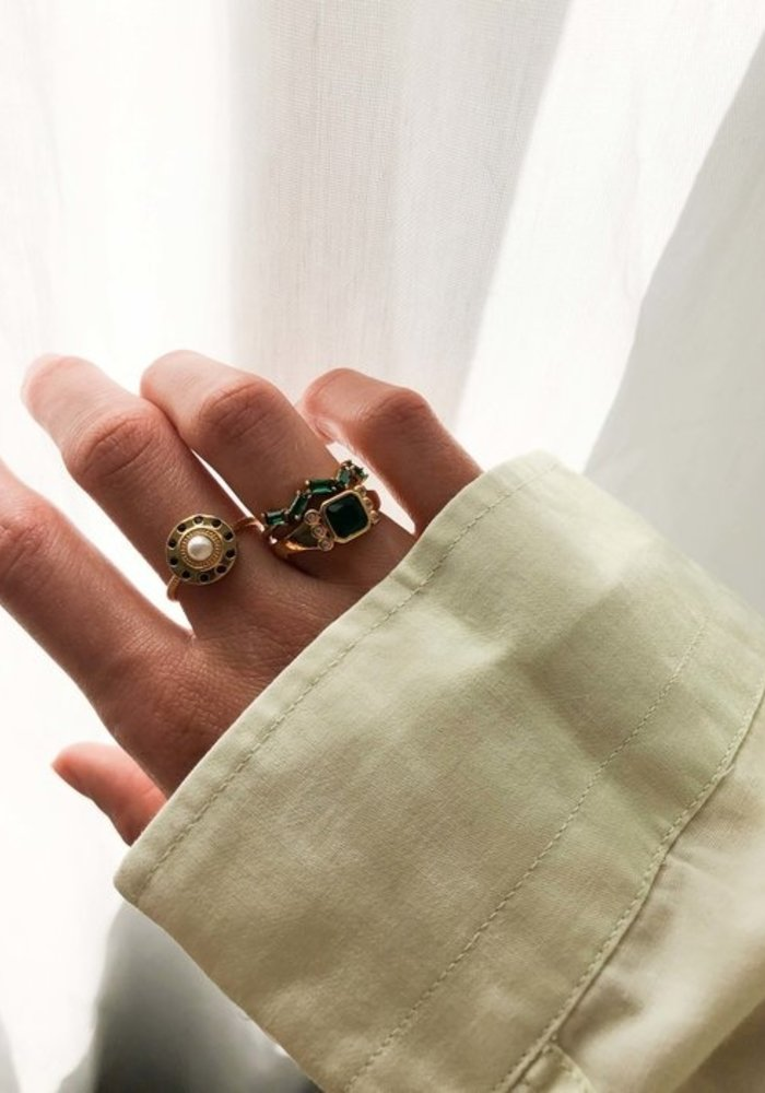 Alltheluck - RING CIRCLE PEARL BLACK GOLD