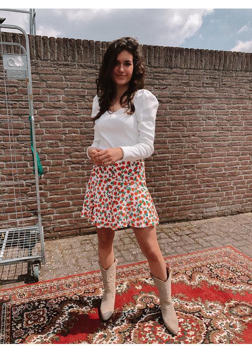 Alix Alix - Ladies woven fresh flower short skirt creamy white