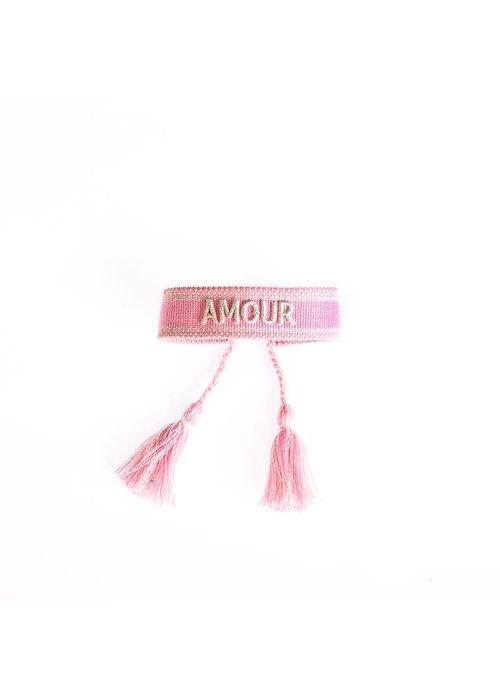 Ella Agency Ella - Canvas Bracelet Amour Cerise