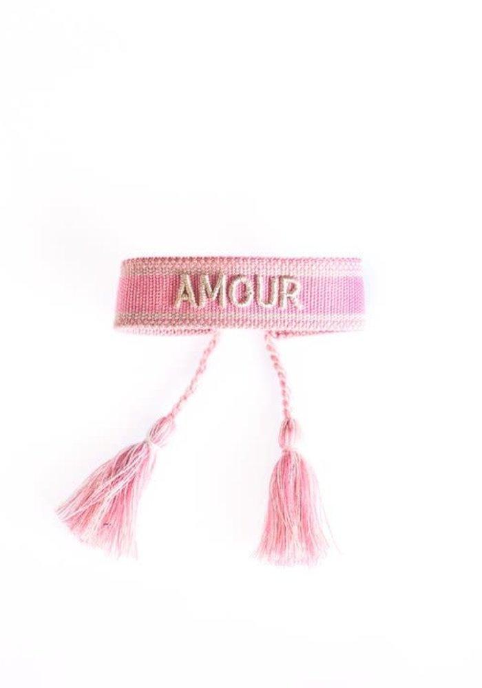 Ella - Canvas Bracelet Amour Cerise