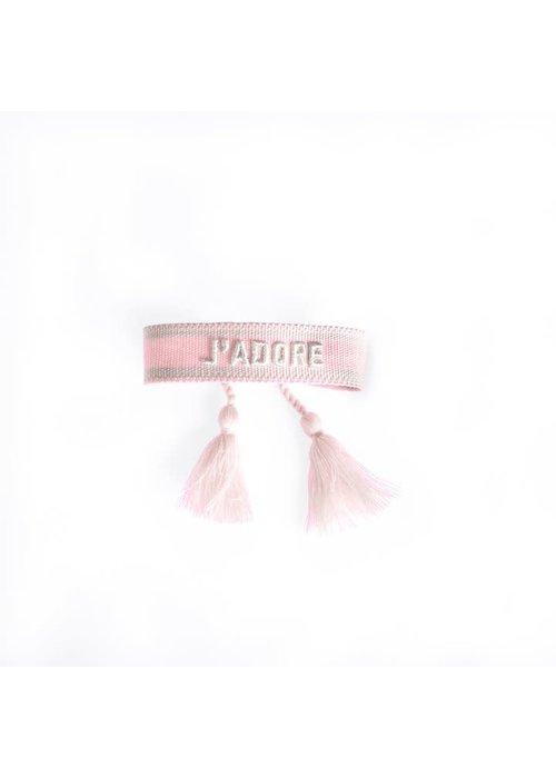 Ella Agency Ella - Canvas Bracelet J'adore baby Pink