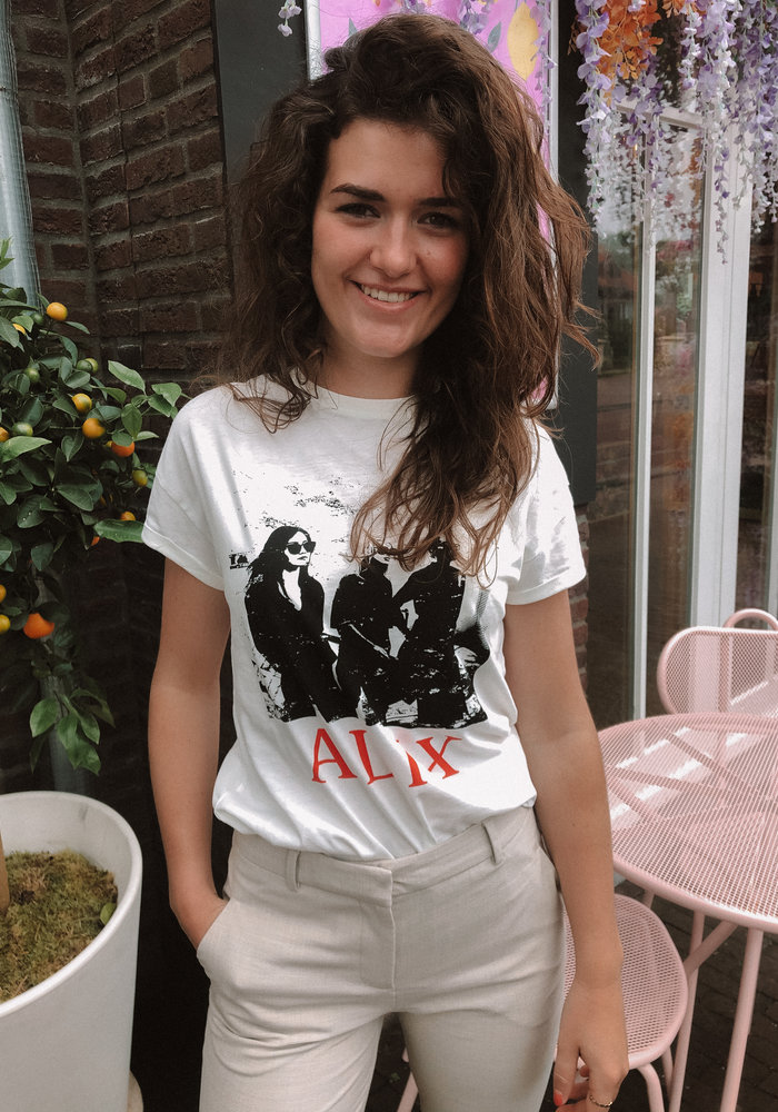 Alix the Label - Ladies Knitted Boxy Photo T-shirt Soft White