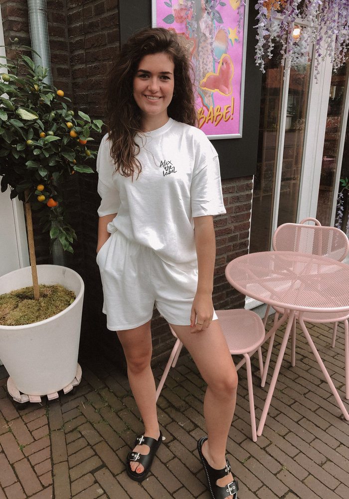 Alix the Label - Ladies Knitted Summer Sweat Shorts Soft White