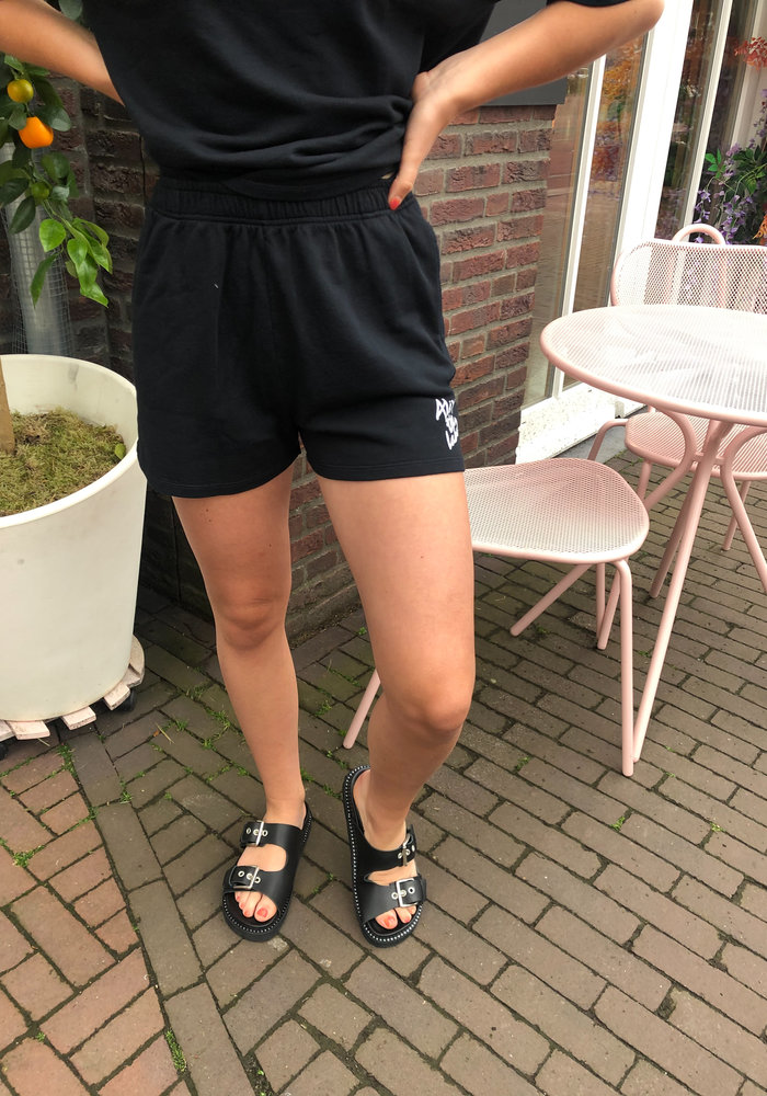 Alix the Label - Ladies Knitted Summer Sweat Shorts Black