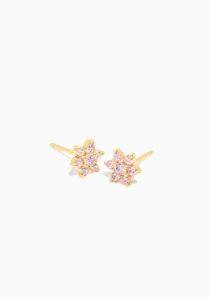 Eline Rosina -Pink Flower Earrings ( per paar)