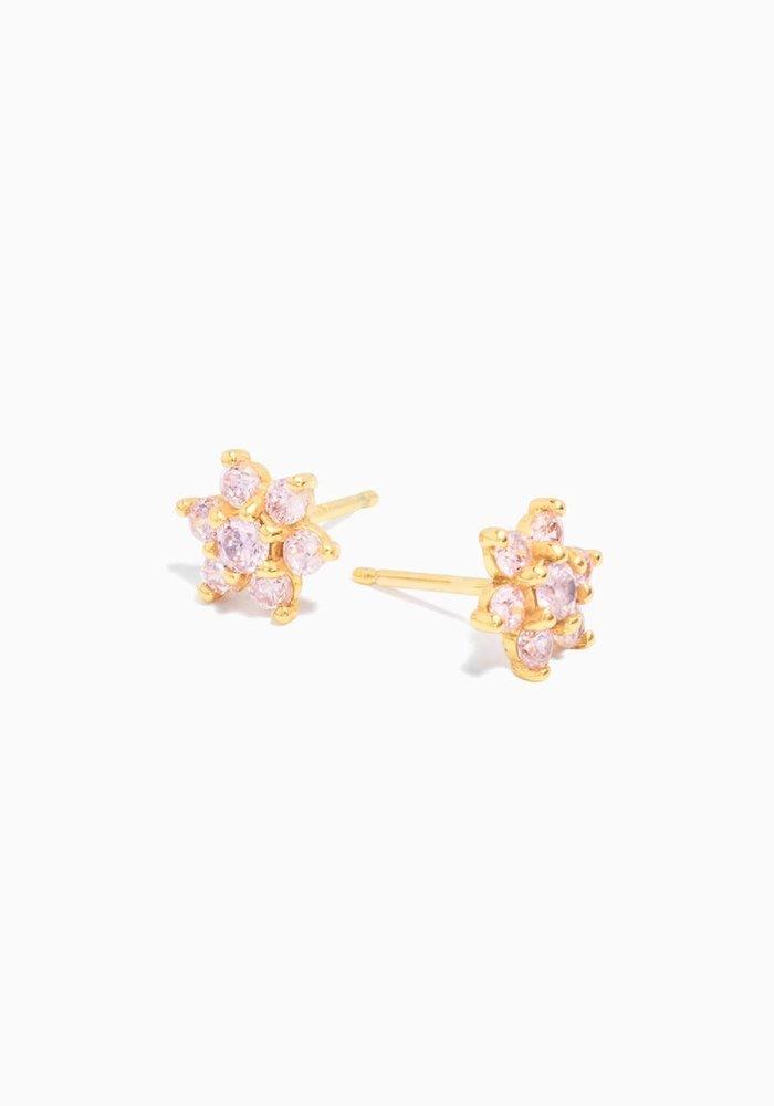 Eline Rosina -Large Pink Flower Earrings (per paar)