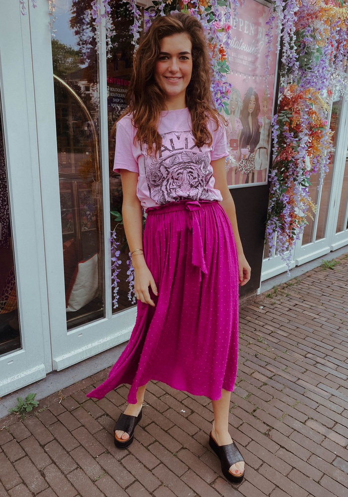 Alix the Label - Ladies Knitted Acid Washed Tiger T-shirt Rose