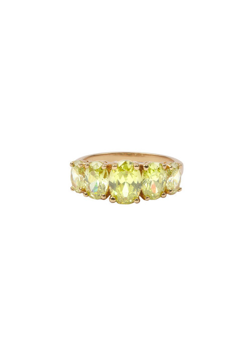 ALL THE LUCK IN THE WORLD Alltheluck - Chérie Goldplated Ring Ovalen Lime