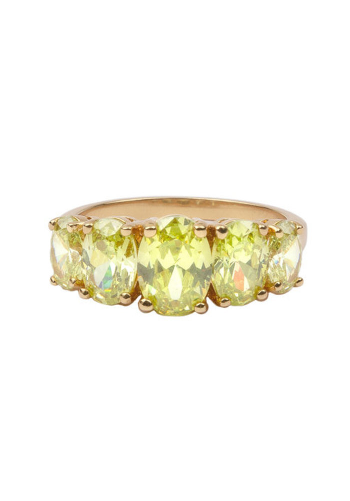 Alltheluck - Chérie Goldplated Ring Ovalen Lime
