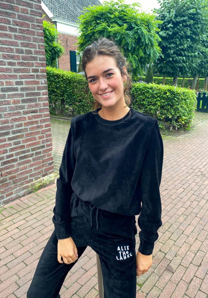 Alix - Ladies Knitted Rib Velvet Pants