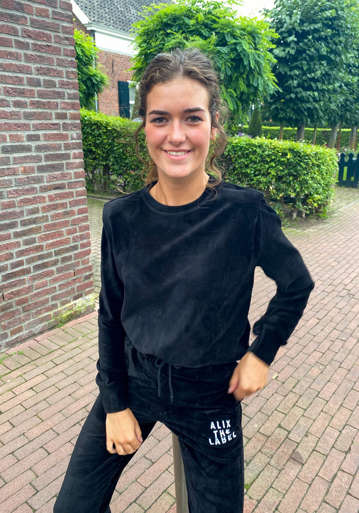 Alix - Ladies Knitted Rib Velvet Sweater