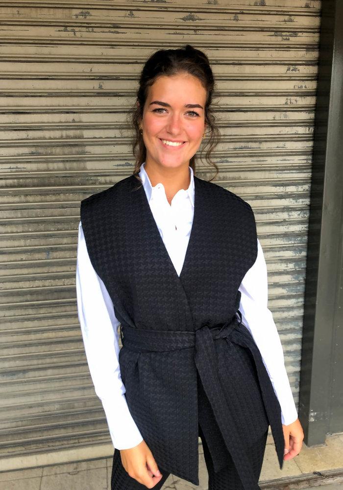 Alix - Ladies Woven Houndstooth Waistcoat