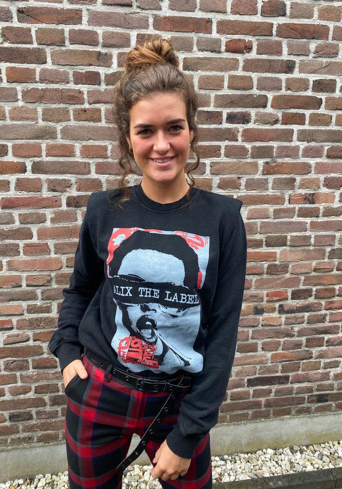 Alix - Ladies Knitted Organic Photo Oversized Sweater Black