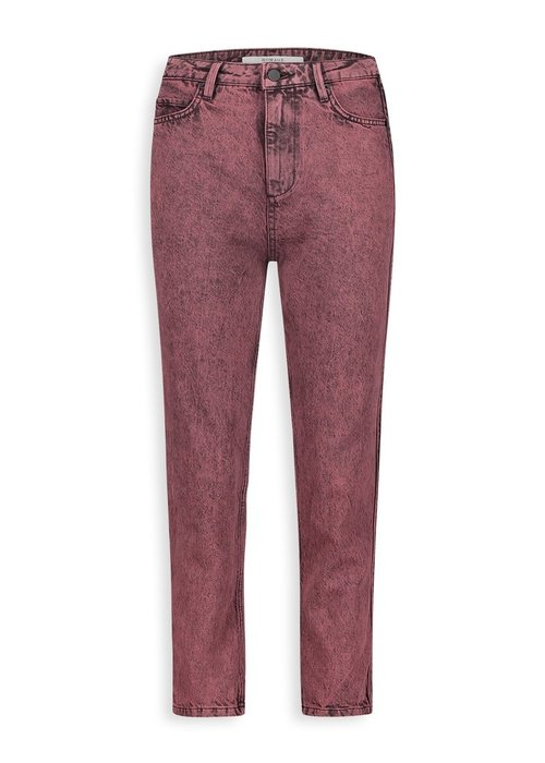 Homage Homage - Marilyn Non Stretch Straight Jeans With Side detail & Bottom Straps Acid Overdyed Grape