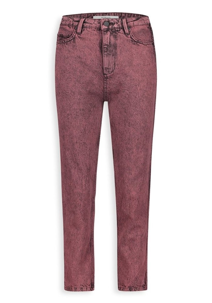 Homage - Marilyn Non Stretch Straight Jeans With Side detail & Bottom Straps Acid Overdyed Grape