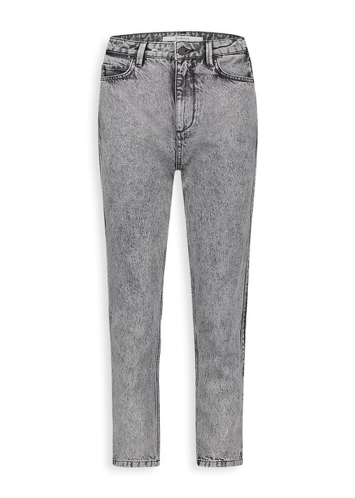 Homage Homage - Marilyn Non Stretch Straight Jeans With Side detail & Bottom Straps Acid Light Grey