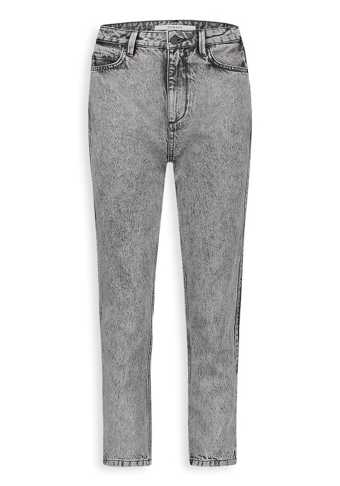 Homage - Marilyn Non Stretch Straight Jeans With Side detail & Bottom Straps Acid Light Grey