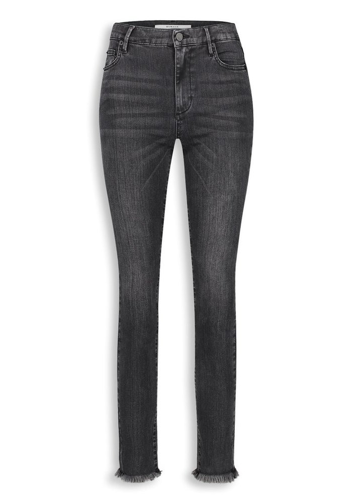 Homage - Sarah - Stretchy Straight Jeans With Frayed Hem - Washed Black