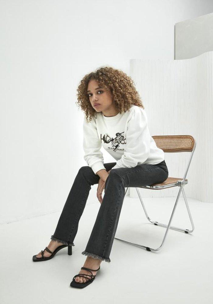 Homage - Jane Flared Jeans With Frayed Hem Washed Black