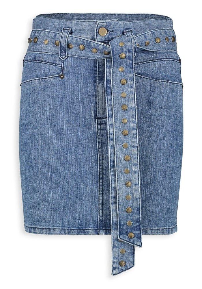 Homage - Retro Inspired Denim Skirt With Studs