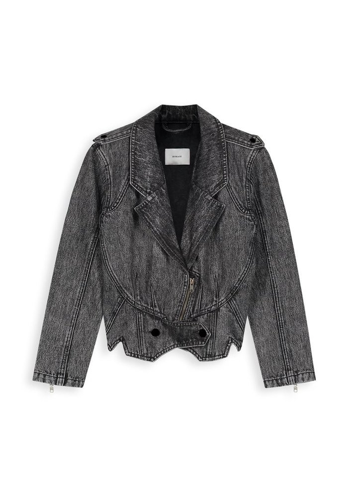 Homage - 80s Inspired Denim Jacket Dark Grey Used