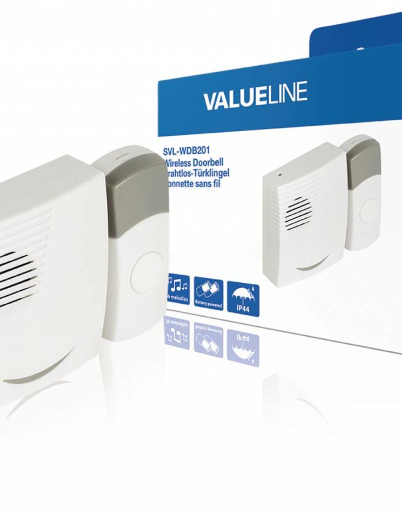 Valueline Draadloze Deurbel Set Batterijgevoed 70 dB Wit/Grijs