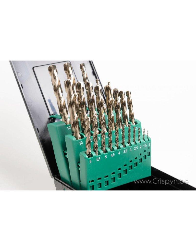 Phantom HSS-Cobalt borenset 1 - 10.5 mm per 0.5 mm + voorboormaten M4 - M12
