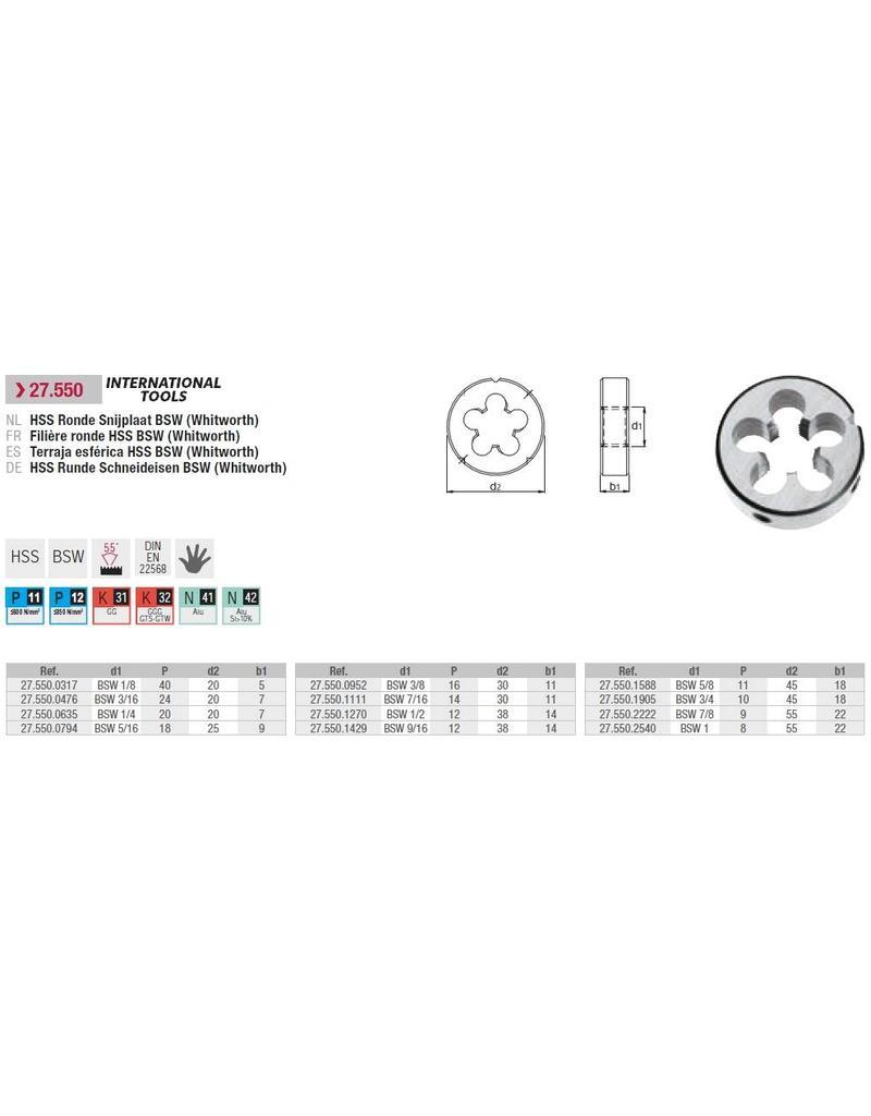 """International Tools Standaard snijplaat BSW 1""""-8"""