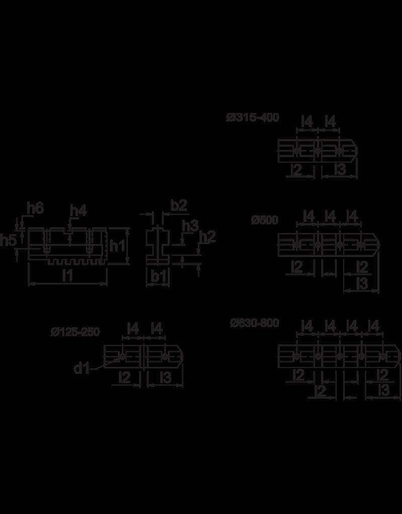 Phantom Geharde grondbekken voor 400 mm Bison 3-klauwplaten